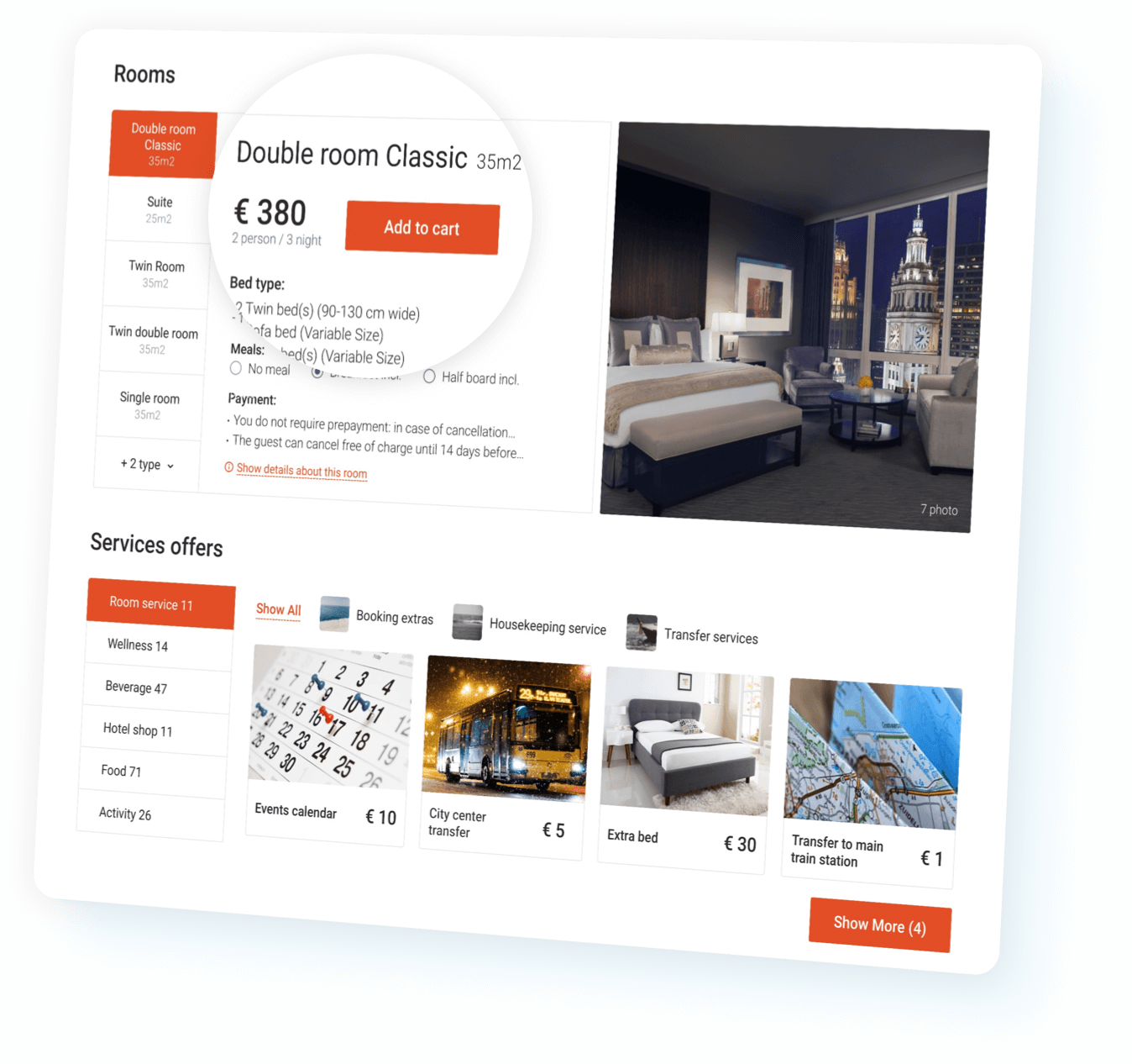 Direct booking of rooms and services