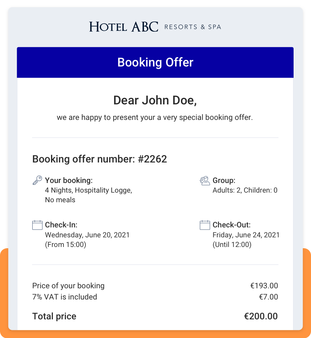Booking offer